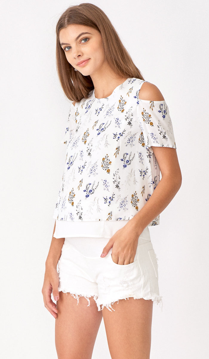 KATE COLD SHOULDER TOP FLORAL