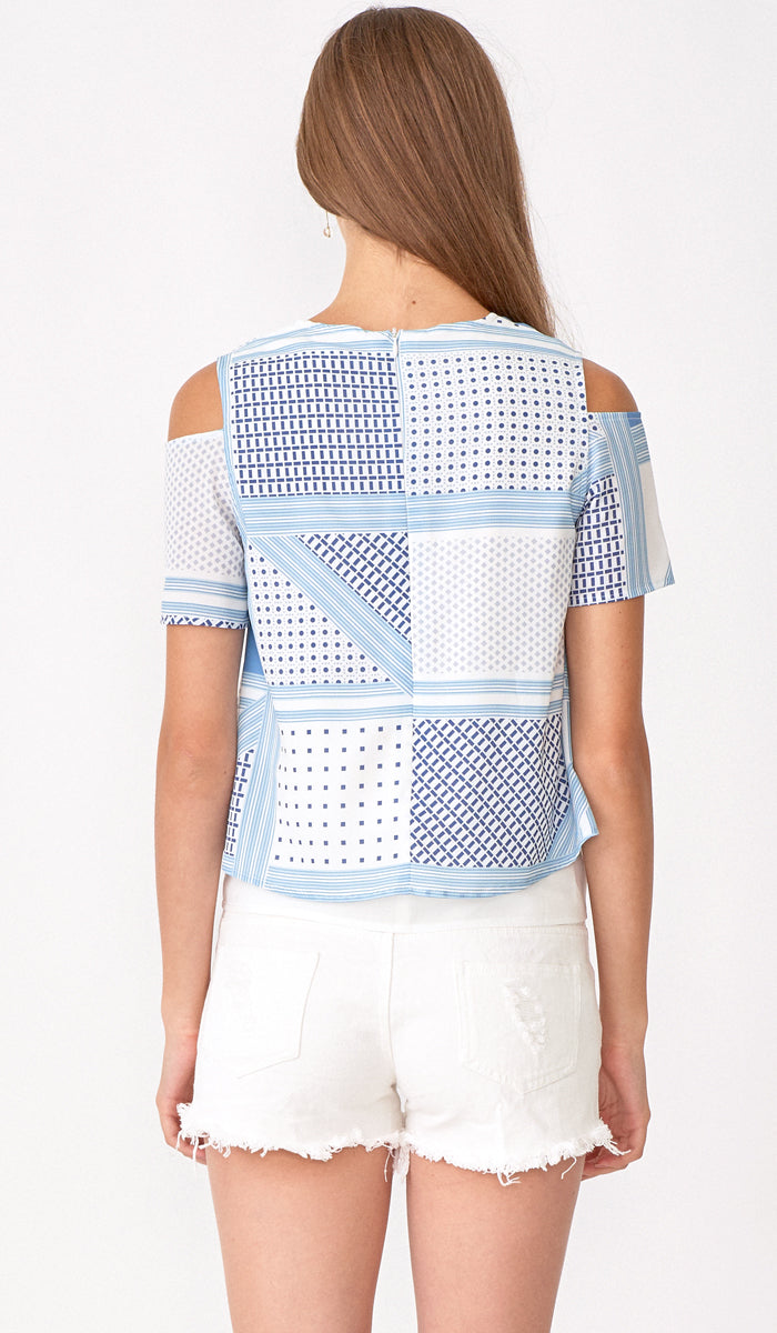 KATE COLD SHOULDER TOP BLUE CHECKS