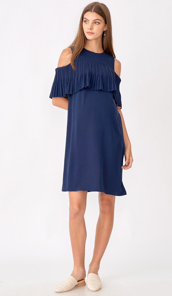 KAYLA DROP SHOULDER PLEAT DRESS NAVY