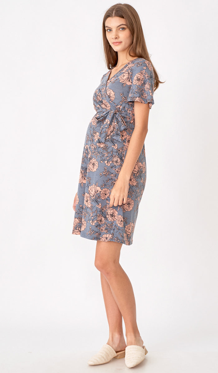 KYLIE FLORAL FAUX WRAP DRESS GREY