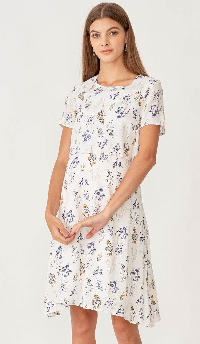 MARISSA FLORAL SKATER DRESS WHITE