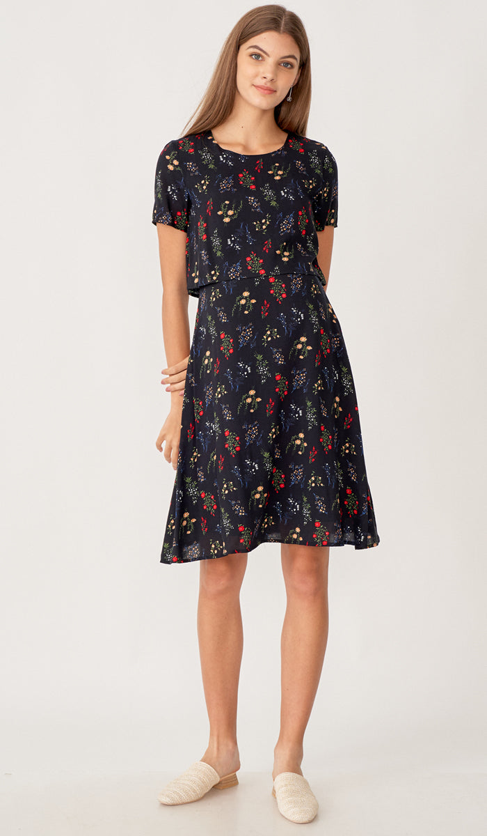 MARISSA FLORAL SKATER DRESS BLACK