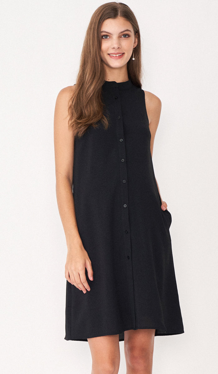 ALLIE SHIRTDRESS BLACK W SASH