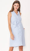 ALLIE SHIRTDRESS LIGHT BLUE W SASH