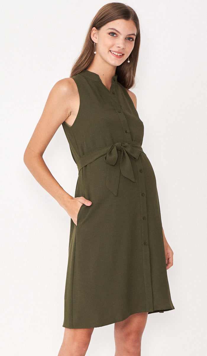 ALLIE SHIRTDRESS GREEN W SASH