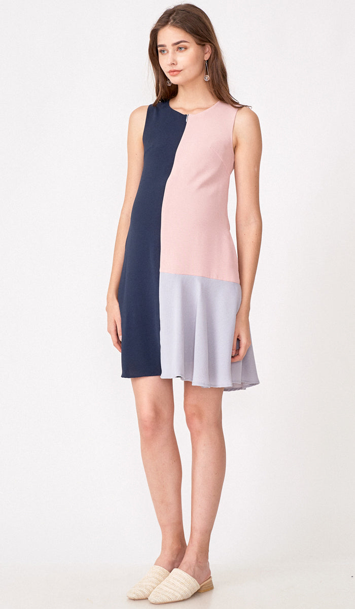 CLARA COLORBLOCK ZIPFRONT NURSING DRESS PINK