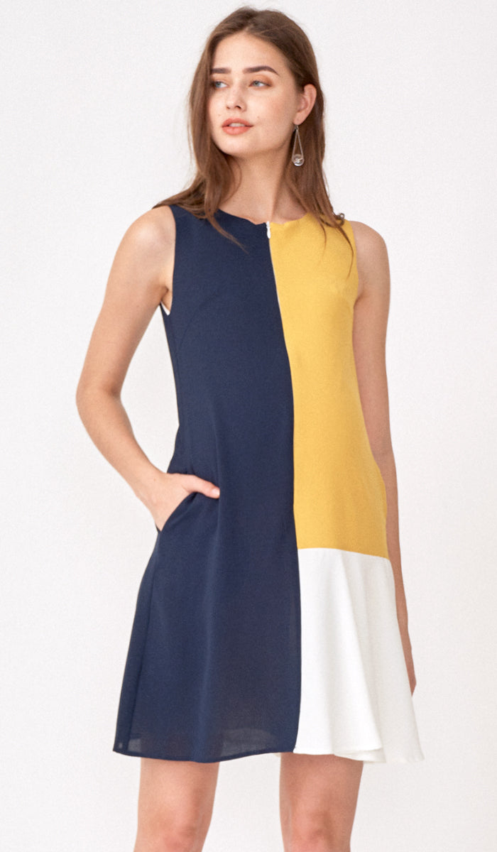 CLARA COLORBLOCK ZIPFRONT NURSING DRESS MUSTARD