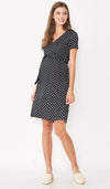 DARLENE TIE WAIST MATERNITY DRESS POLKADOT