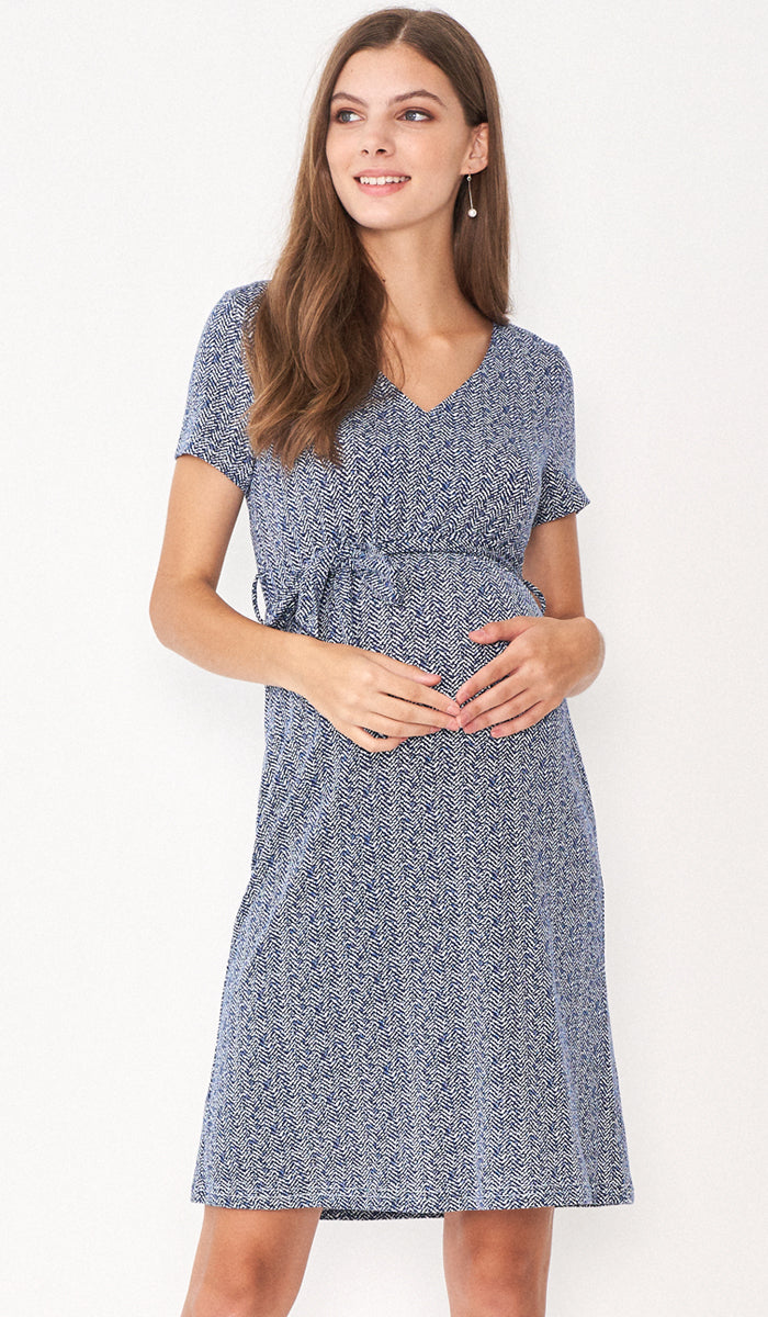DARLENE TIE WAIST MATERNITY DRESS CHEVRON