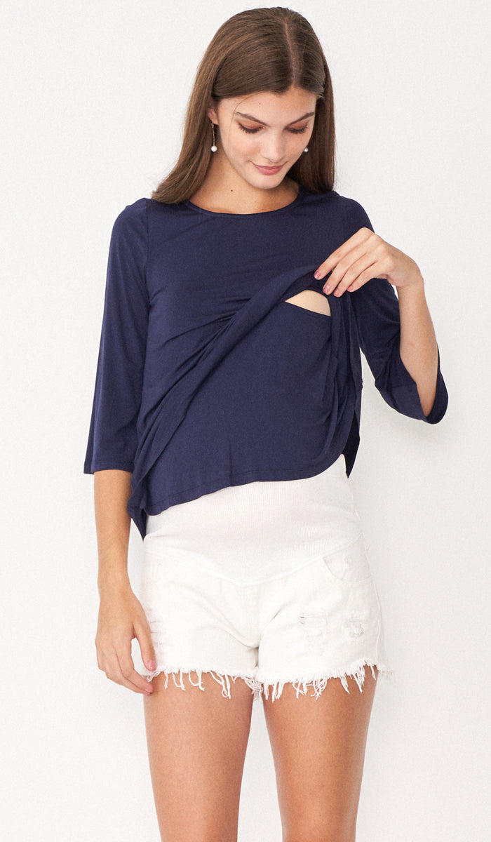 SALE - DESI FLARE TOP NAVY