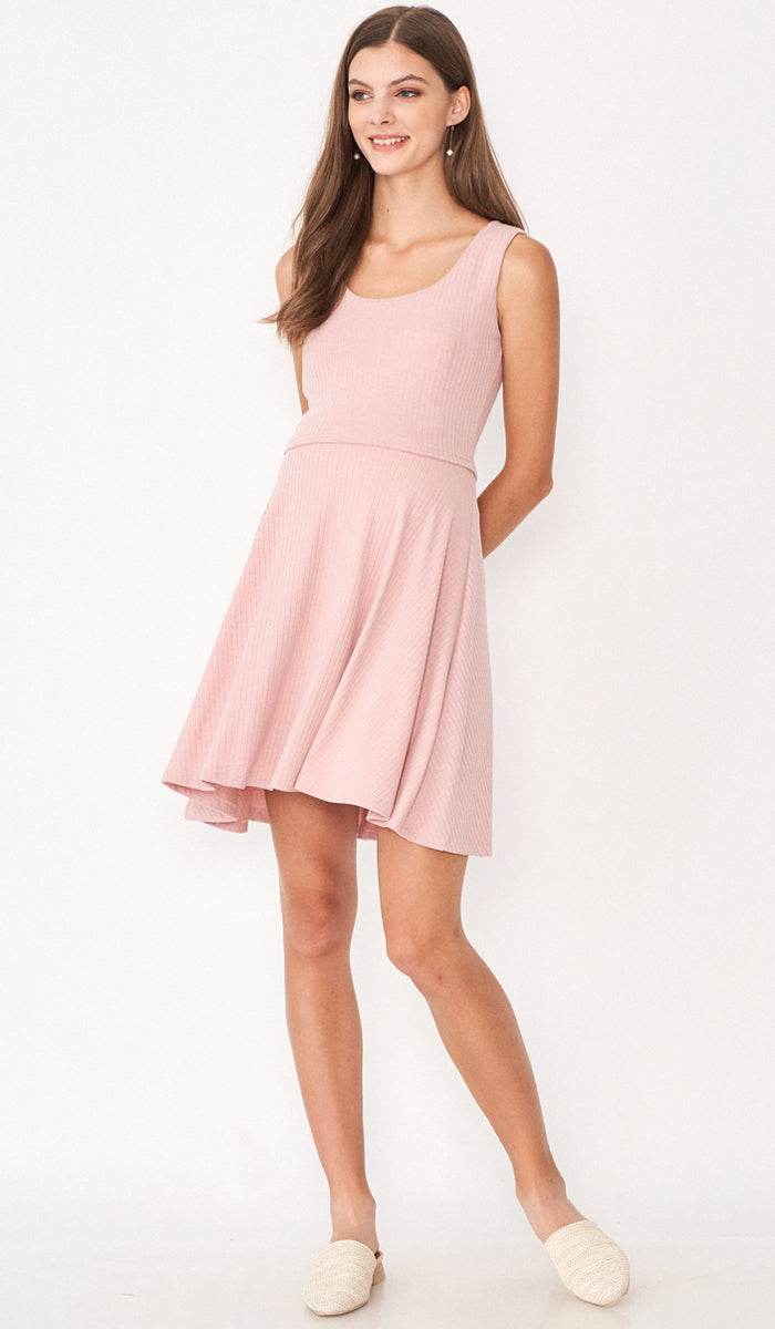 SALE - ERIN KNIT SKATER DRESS PINK
