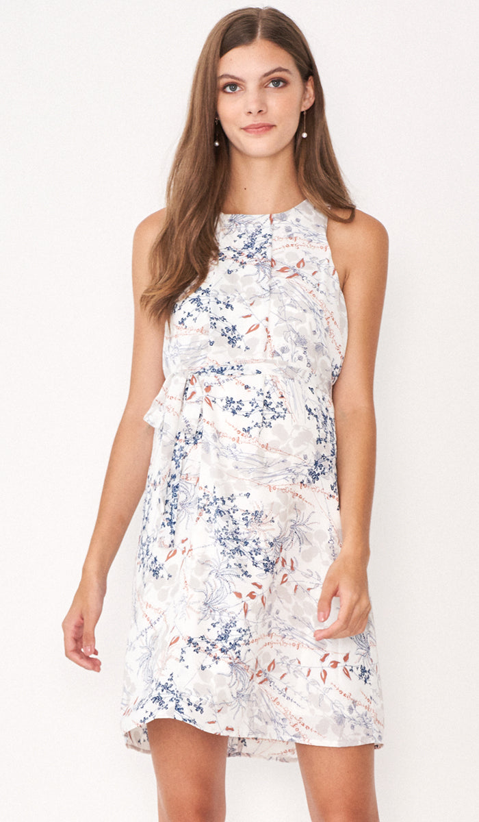 HILDA FLORAL DRESS WHITE W SASH
