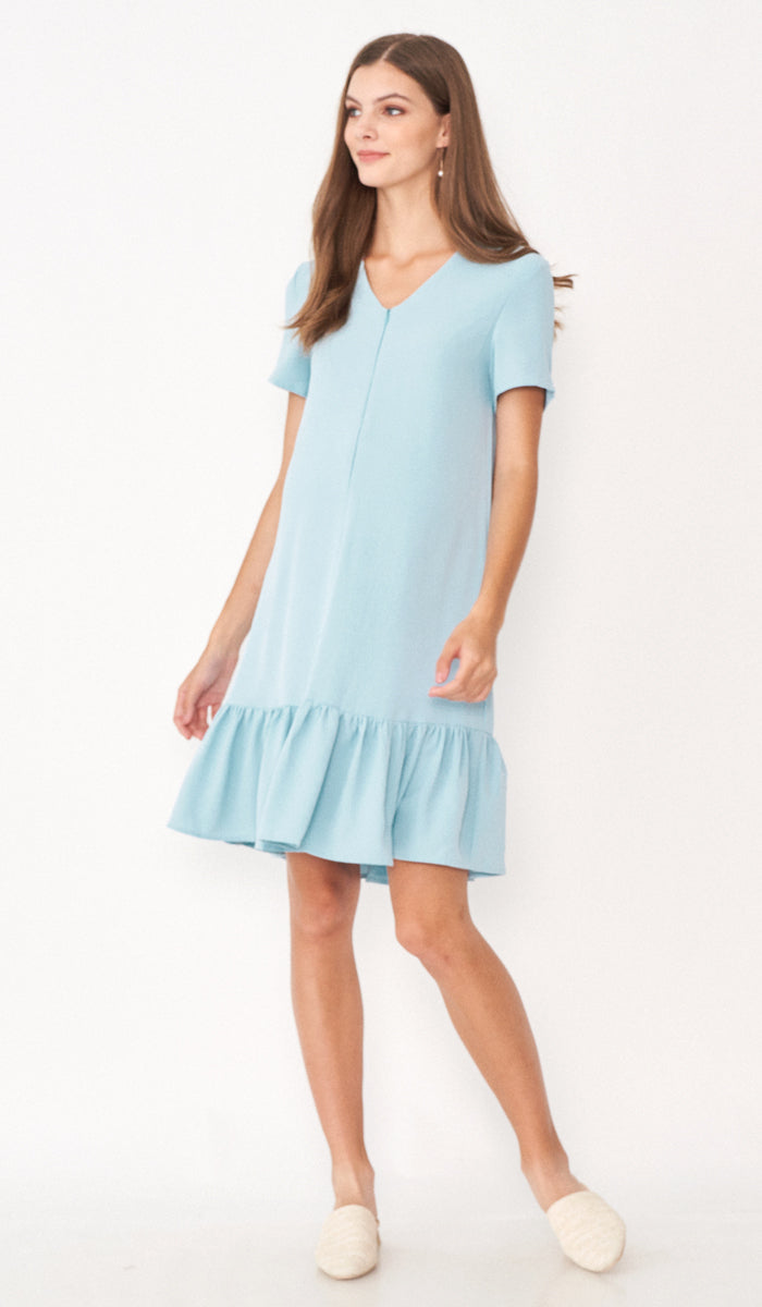 SALE - LILIE FRONT ZIP FLOUNCE DRESS LIGHT BLUE