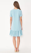 LILIE FRONT ZIP FLOUNCE DRESS LIGHT BLUE