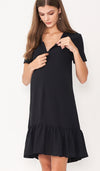 LILIE FRONT ZIP FLOUNCE DRESS BLACK