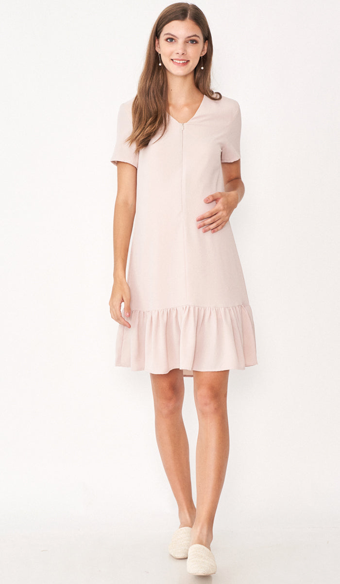 LILIE FRONT ZIP FLOUNCE DRESS NUDE
