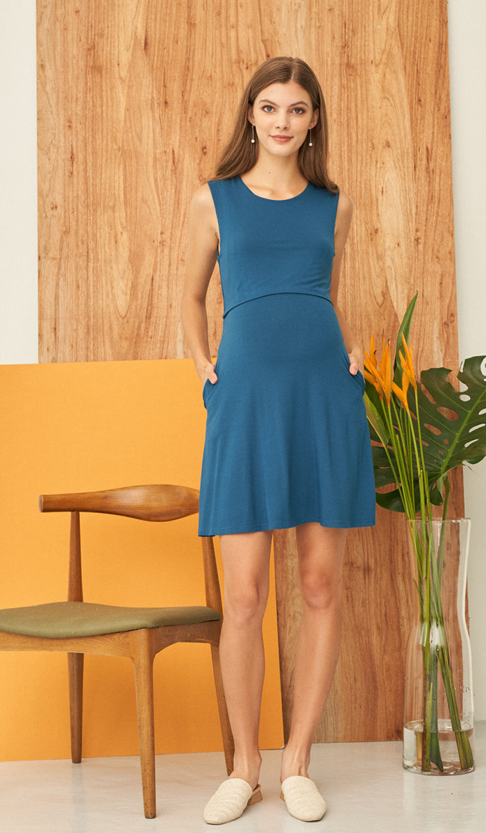 SALE - LIZZY NURSING SKATER DRESS TEAL