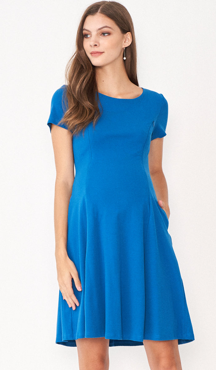 MARA NURSING SKATER DRESS TEAL
