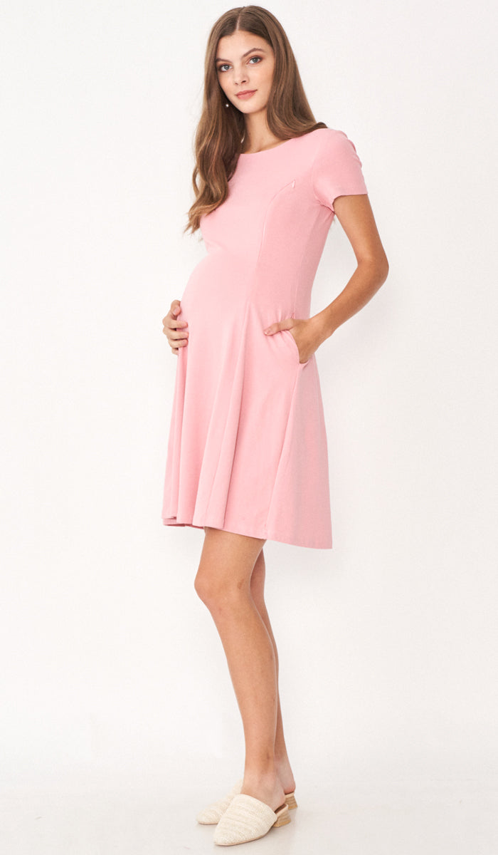 MARA NURSING SKATER DRESS PINK