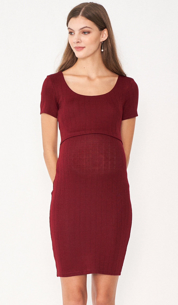 SALE - LUNA KNIT BODYCON DRESS RED