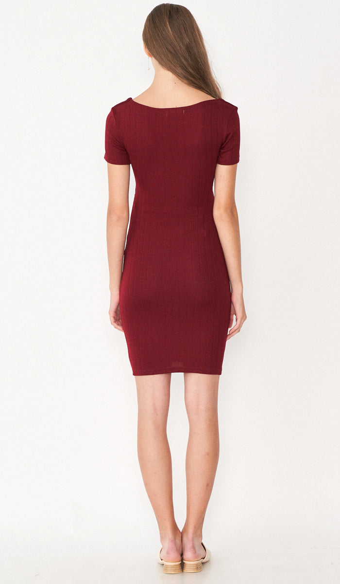 LUNA KNIT BODYCON DRESS RED
