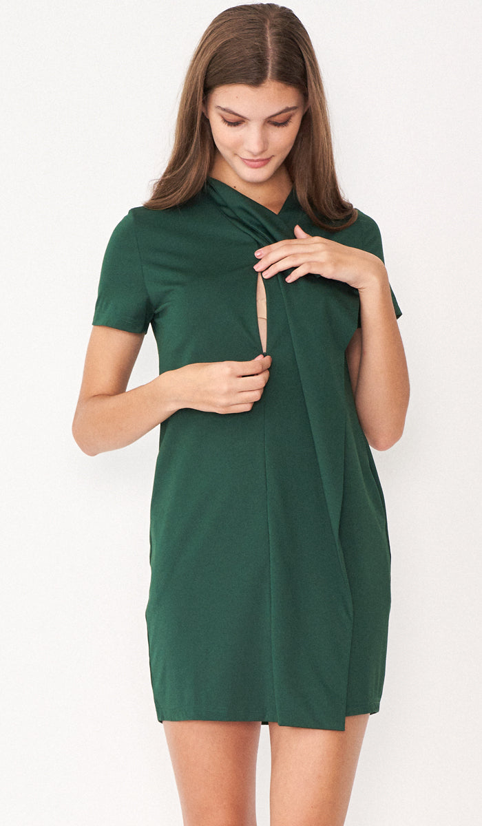 RACHEL DRAPE DRESS GREEN