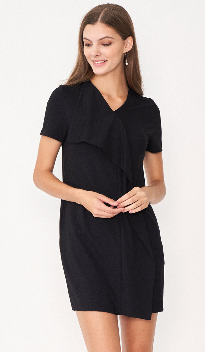 SALE - RACHEL DRAPE DRESS BLACK