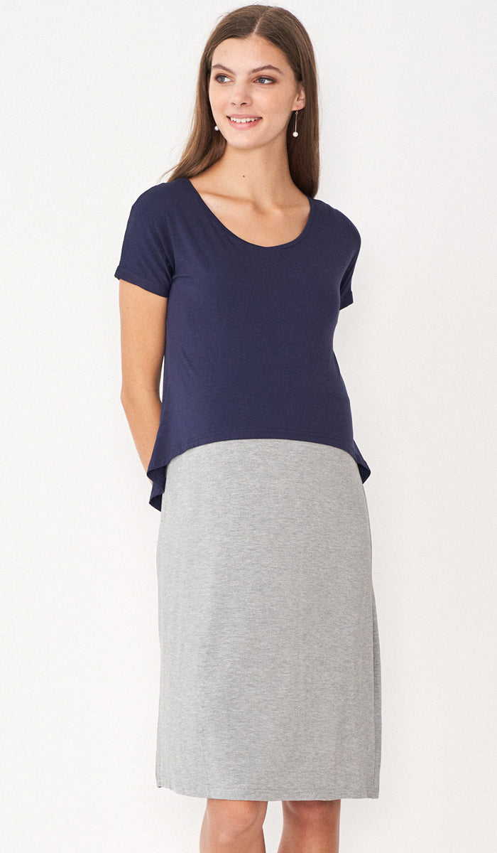 RAE COLORBLOCK LAYERED DRESS BLUE