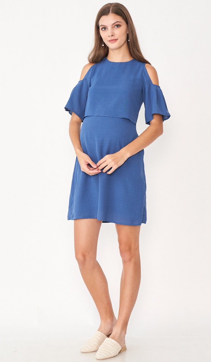 SALE - RITA DROP SHOULDER NURSING DRESS BLUE
