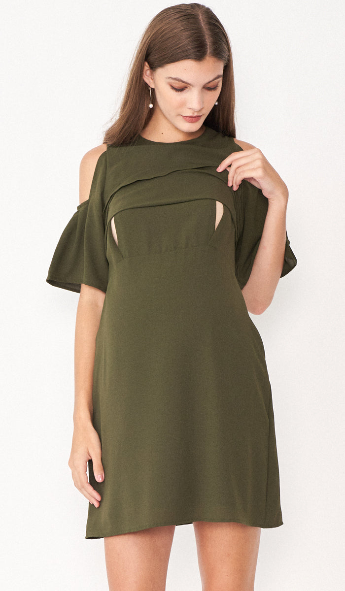 SALE - RITA DROP SHOULDER NURSING DRESS KHAKI GREEN