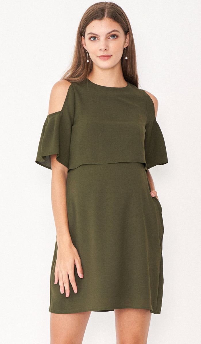 RITA DROP SHOULDER NURSING DRESS KHAKI GREEN
