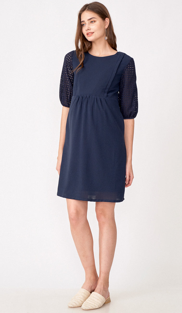 ALESSIA CROCHET SLEEVE NURSING DRESS NAVY