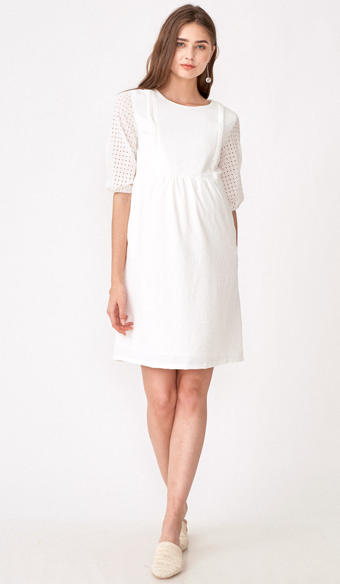 ALESSIA CROCHET SLEEVE NURSING DRESS WHITE
