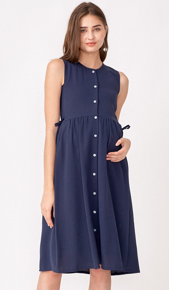 CARL BUTTONDOWN NURSING DRESS NAVY