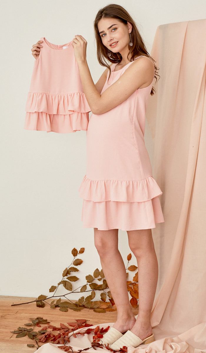 GRACE TIERED DRESS PINK