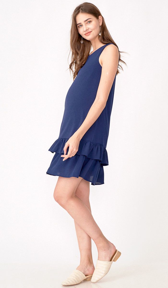 GRACE TIERED DRESS NAVY
