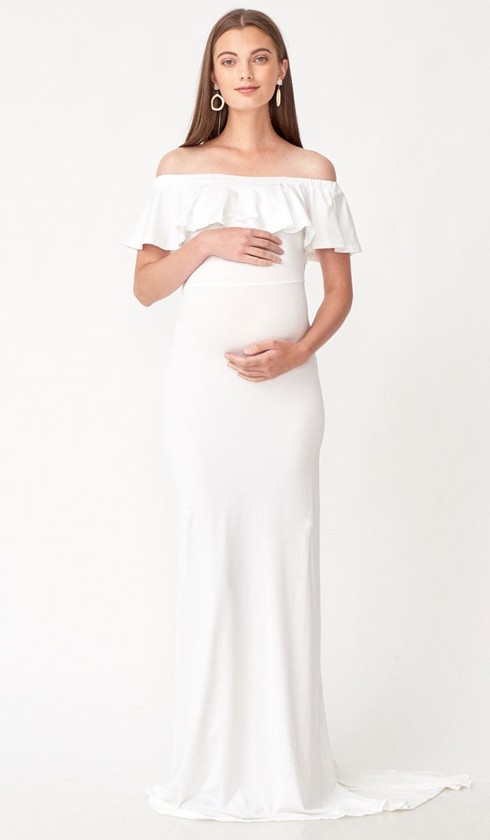 SALE - ISABEL MULTI WEAR MATERNITY MAXI DRESS WHITE