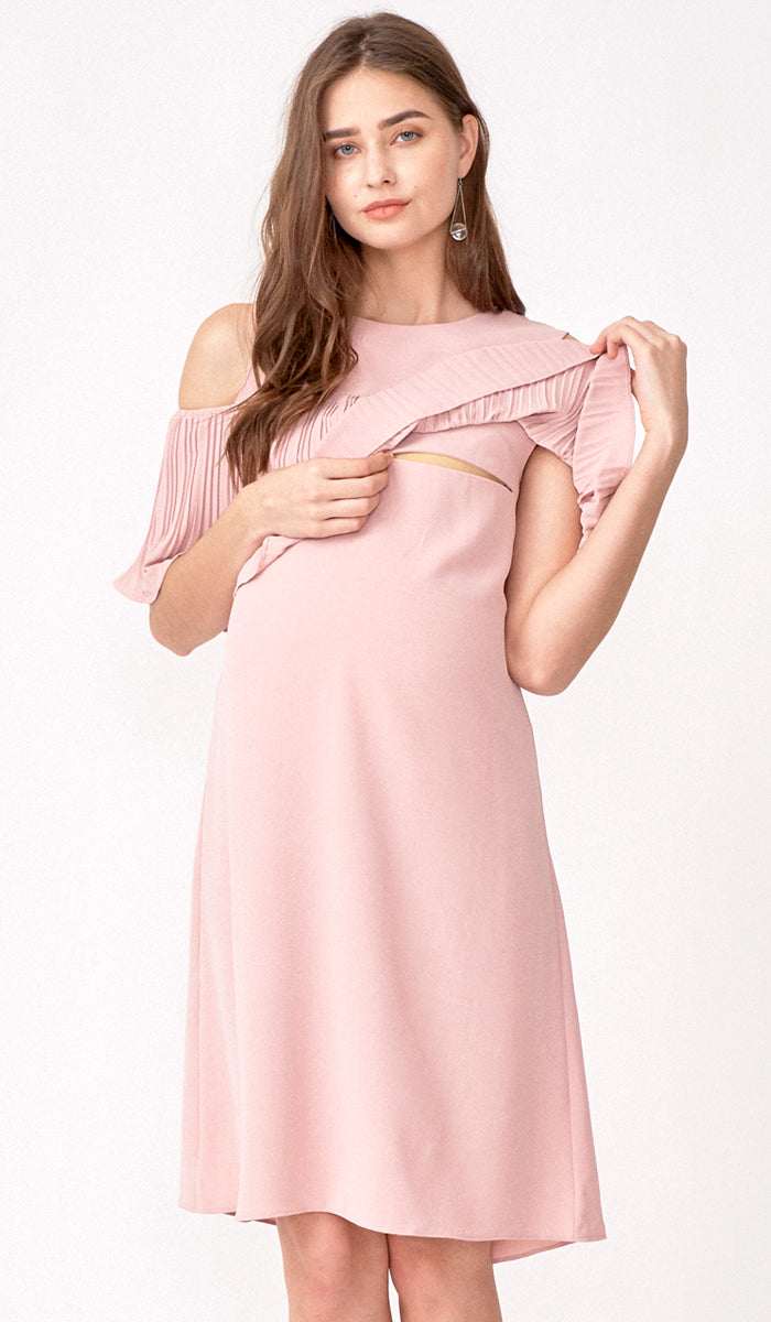KAYLA DROP SHOULDER PLEAT DRESS PINK