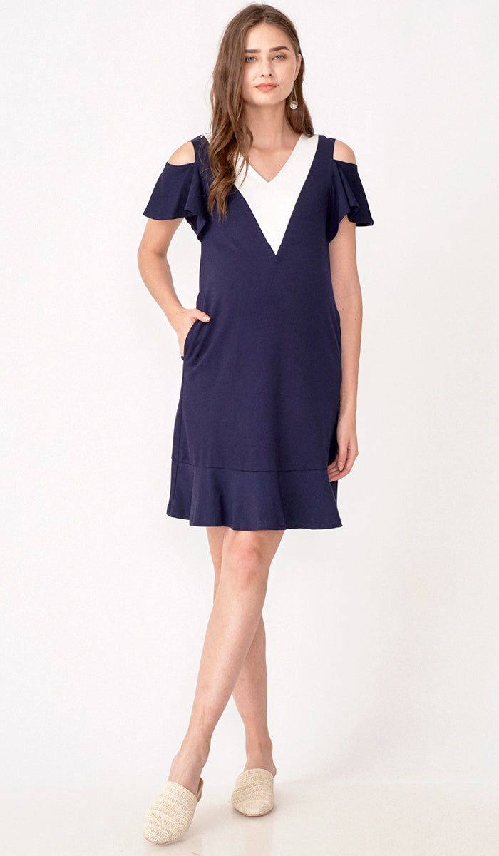 MARIN DROP SHOULDER DRESS NAVY