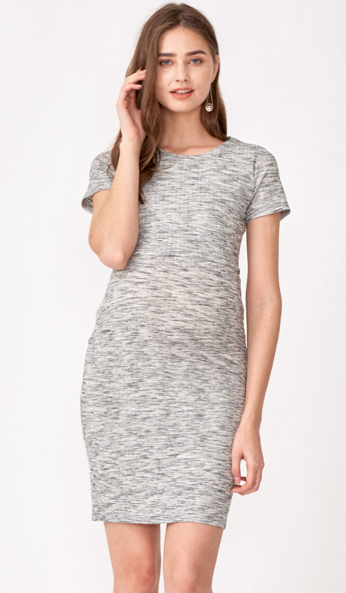 QUINN BODYCON RIBBED NURSING DRESS GREY