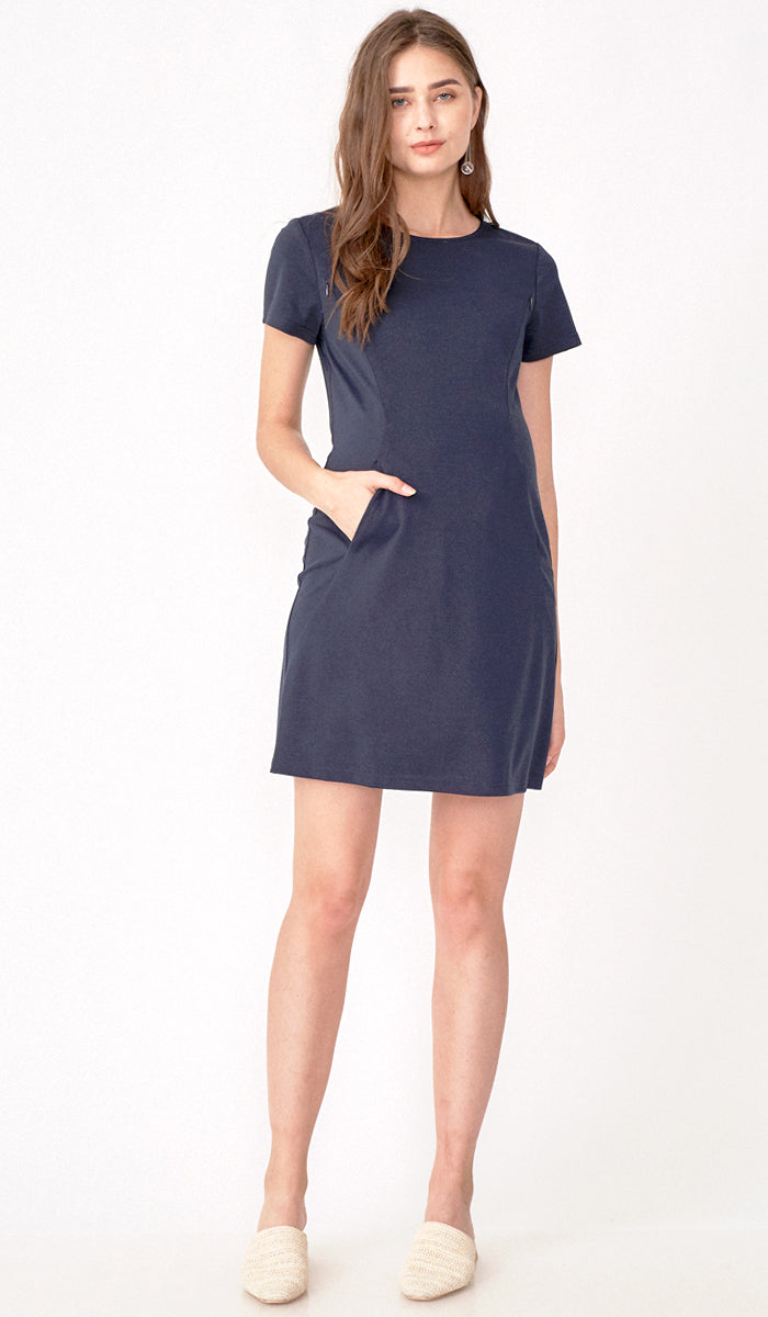 RAINE SHIFT DRESS NAVY