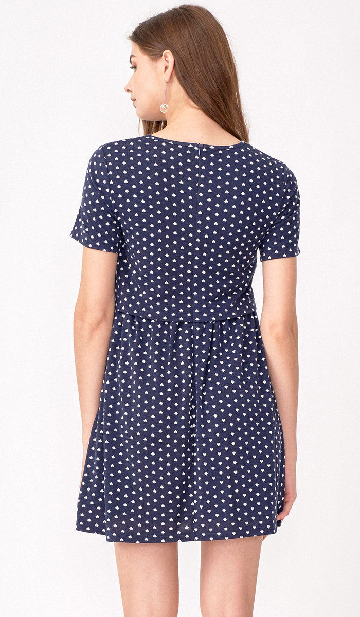 SPADES AND HEARTS DRESS NAVY