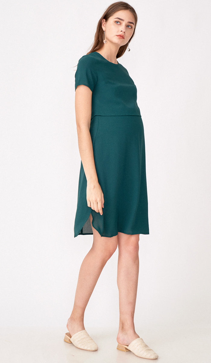 SALE - VANESSA LAYERED NURSING DRESS EMERALD