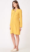 YANN NURSING SHIRT DRESS w BELT MUSTARD