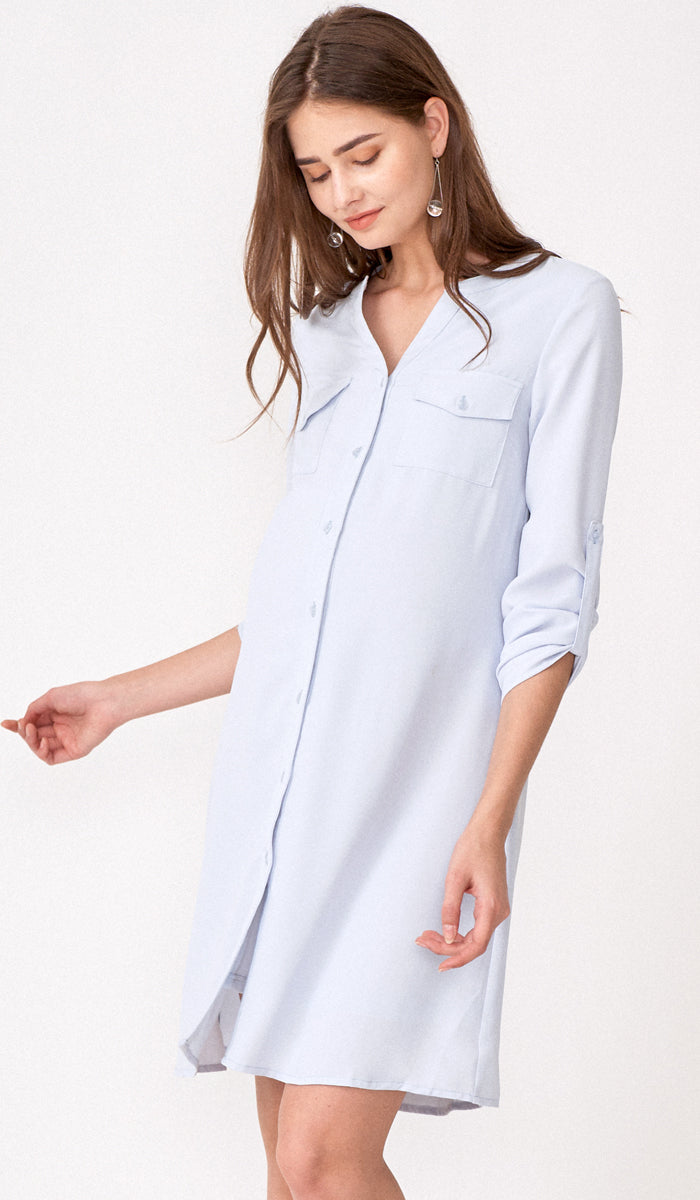 YANN NURSING SHIRT DRESS w BELT LIGHT BLUE