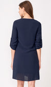 YANN NURSING SHIRT DRESS w BELT NAVY
