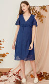 ZARA DROP SLEEVE LACE DRESS NAVY