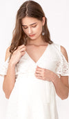 ZARA DROP SLEEVE LACE DRESS WHITE