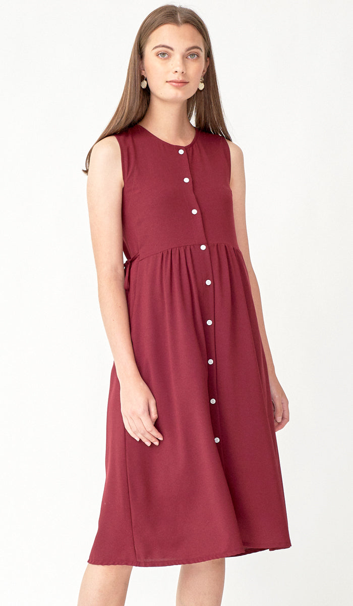 CARL BUTTONDOWN NURSING DRESS BURGUNDY