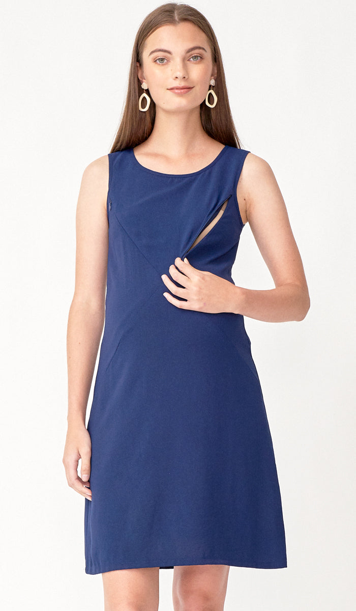SALE - CARLA ASYMMETRICAL ZIP DRESS NAVY